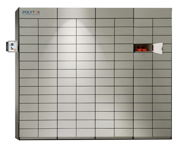 Polytex Multilocker units enable users to store and retrieve personal items via a personal ID card or biometric reader.